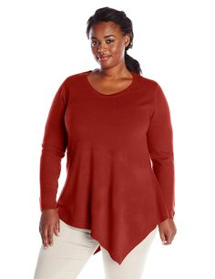 c7d57e54703 Sag Harbor Women s Plus-Size Scoop Neck Asymmetrical Hem Cashmerlon  Sweater