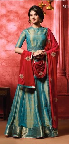 42437d83b4 Bottle Green and Red Banarasi Silk Floor Length Suit. The dual tone  banarasi silk kameez is beautifully weaved together with muted embroidery at  neck, ...