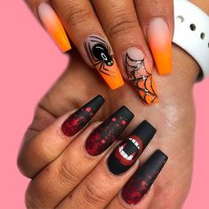 Holloween Nails, Halloween Acrylic Nails, Halloween Nail Designs, Cute Acrylic Nails, Halloween Halloween, Halloween Decorations, Halloween Coffin, Nails For Halloween, Bloody Halloween