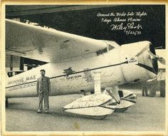 July 14-22, 1933: Wiley Post, flying a Lockheed Vega, makes the first around the world solo flight. His flight begins and ends at Floyd Bennett Field in New York, with stops at Berlin, Moscow, Irkutsk and Alaska – a total distance of 25,099 km (15,596 miles).