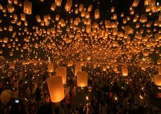Sky Lantern Festival - Taiwan. Takes place at the end of the Lunar New Year. Some people write a message or wish on the lanterns before letting them fly. Long ago, Chinese people believed the lanterns would reach the God of Heaven.