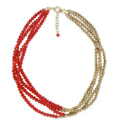 Coloured Gem 2 Tone Necklace - Red $49.95 #leethal #accessories #fashion