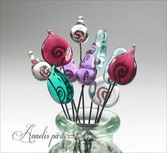 SRA handmade lampwork beads glass headpins 10 by Annelibeads