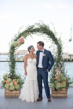 Una boda en tonos melocotón y verde