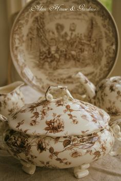 Aiken House & Gardens: Transferware Dishes in brown Antique Dishes, Vintage Dishes, Antique China, Vintage China, Vintage Tableware, Vintage Plates, Vintage Recipes, China Porcelain, Kitsch