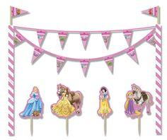 Decoración de tarta Princesas Disney™: Este kit de decoración para tarta tienen licencia oficialPrincesas Disney™.Incluye 4 palillos y 2 tubos con guirnalda.Los 4 palillos son de plástico y tienen viñetas...
