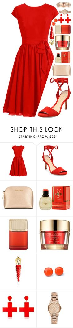"""Gift Guide"" by dievadizs ❤ liked on Polyvore featuring Loeffler Randall, MICHAEL Michael Kors, Yves Saint Laurent, Cartier, Estée Lauder, Christian Louboutin, Yazbukey, Burberry, Tiffany & Co. and Christmas"