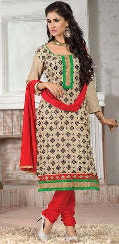 Designer Party Wear Cream Color Jute Cotton Salwar Kameez  at $24.15  for more visit at http://buyapparel.in/index.php/catalogsearch/result/?q=hanifa