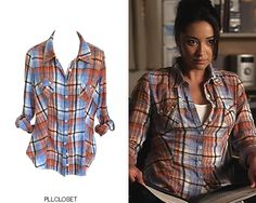 Thinking about it, we rarely see Emily in the colour orange! She did wear it in 2x15 'A Hot Piece Of A' with this GUESS by Marciano shirt though. GUESS by Marciano 'Plaid Flannel Shirt' - $18.00 (Poshmark) Worn with: Steve Madden boots