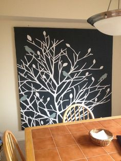 Dining Room Wall Art Idea Using Shower Curtain