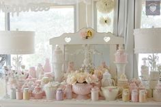 Romantic shabby chic pink and white  / colours Decorator pots and bottles and jars painted with luvmystuff coloured paint range