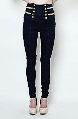 Super high waist diamond stud strap skinny jeans from Love melroseThese super high waisted skinny jeans are killer. Featuring 10 large gold center buttons and two straps studded with diamond rhinestones on each side. These flashy hot pants are great for a bold night out!75% COTTON23% POLYESTER2% SPANDEXMACHINE WASH COLDNO BLEACHDO NOT WRINGTUMBLE DRY LOW