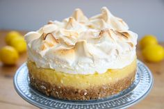 Gluten Free Lemon Meringue Pie Recipe w/ Biscuit Base (dairy free, low FODMAP) - - I love lemon in desserts. I also love biscuit bases. So here is a Gluten Free and Dairy Free Lemon Meringue Pie with a biscuit base. Gluten Free Lemon Meringue Pie Recipe, Lemon Meringue Cheesecake, Dairy Free Cheesecake, Cheesecake Recipes, Pie Recipes, Dessert Recipes, Fodmap Recipes, Lemon Recipes, Burger Recipes