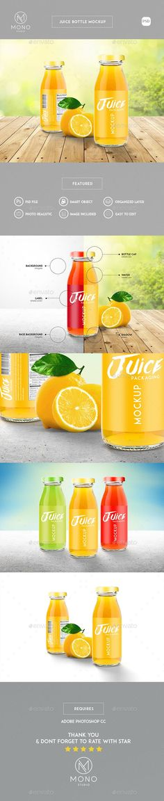 Buy Juice Bottle Mockup by MONOGRPH on GraphicRiver. Juice Bottle Mockup Hello, If you are looking for a modern and trendy juice bottle mockup to showcase your bottle pac. Bottle Packaging, Bottle Mockup, Bottle Labels, Graphic Design Templates, Label Design, Box Mockup, Mockup Templates, Juice Bottles, Iced Tea