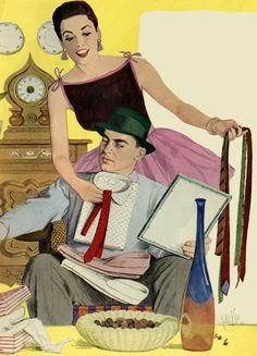 """She seems happier about the shirt/tie combination than he is. This painting was with the story """"Girl With A Briefcase"""" in Good Housekeeping in September 1956."""
