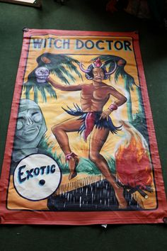 Side Show Carny Hand Painted Banner Witch Doctor Sideshow | eBay