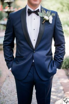 Navy Blue Tux with Coral Boutonniere Navy Blue Groomsmen, Navy Blue Tuxedos, Groom And Groomsmen Attire, Blue Suit Groom, Blue Tux Wedding, Black Tuxedo Wedding, Mens Wedding Suits Navy, Groom Tuxedo Wedding, Wedding Tuxedos