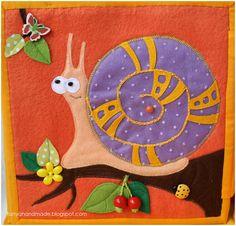 Trace a bead through the snail shell in a garden theme quiet book page. Танины рукодельности: Книжка для маленькой девочки Калисты