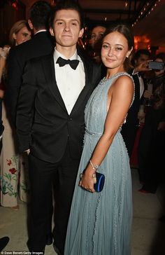 New couple: Tom Holland and Ella Purnell reportedly put on a very cosy display at Sunday night's BAFTAs - sparking rumours of a romance