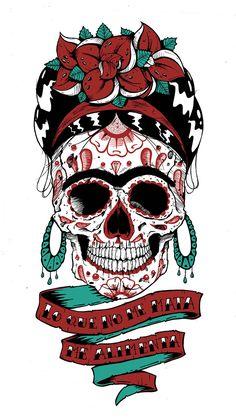 Mexican Skull Art, Mexican Folk Art, Day Of The Dead Artwork, Day Of The Dead Skull, Caveira Mexicana Tattoo, Sugar Skull Artwork, Sugar Skulls, Tableau Pop Art, Frida Art