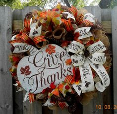 Give thanks deco mesh wreath/Poly burlap by EandJcrafts on Etsy
