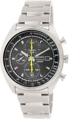 Seiko Chronograph Grey Dial Stainless Steel Mens Watch SNDF85
