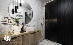 Łazienka z czarną jodełką - PLN Design Apartment Interior Design, Best Interior Design, Bathroom Renos, Washroom, Modern Bathroom, Flooring, Furniture, Home Decor, Powder Room