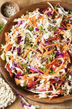 Noodle Salad is a potluck favorite! Crisp cabbage, bean sprouts, shredded carrots and ramen noodles are tossed together for the perfect Oriental salad that everyone always loves! Top with sunflower seeds or toasted almonds for a delicoius nutty crunch! Ramen Cabbage Salad, Japanese Cabbage Salad, Asian Ramen Noodle Salad, Cabbage Salad Recipes, Chicken Salad Recipes, Ramen Noodles, Chinese Salad, Ramen Recipes, Quick Salad Recipes