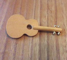Aarikka Vintage Dark Yellow/ Light Brown Wooden Guitar Brooch  #Aarikka Guitar, Brooch, Dark, Yellow, Writers, Goals, Ebay, Watches, Vintage