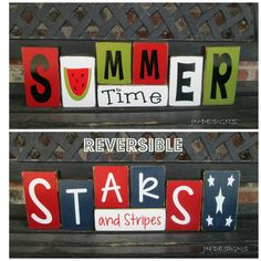 SALE--Ready to Ship--Reversible Summer & 4th of July blocks- Summer time reverses with Stars and Stripes