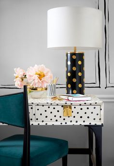 The Kate Spade Home Decor line is glam, girly, pink and chic! The feminine curves of the sofa and playful polka dots make the Kate spade home living collection a perfect addition to your home decor. (Love the polka dot desk) Retro Home Decor, Home Office Decor, Palette Pastel, Painted Furniture, Furniture Design, Office Furniture, Furniture Stores, Furniture Update, Painted Walls