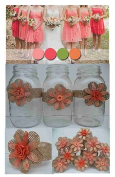 10 Coral Orange Burlap Flower Bow Mason Jar Barn Country Wedding Decorations | eBay