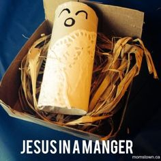 Baby Jesus in a manger craft for kids #Christmas Great idea for Sunday School and to teach kids about Jesus