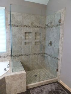 LOVE this....look a the gained space by going over to the tub side just a little....We could do this!Shower Remodel - Even the Floor is Tile  Garland, Texas. #shower, #bathroom Master Shower, Shower Ideas Bathroom Tile, Master Bathroom Remodel Ideas, Bathroom Shower Remodel, Small Bathroom, Shower Remodel Cost, Glass Shower, Bathroom Renovations, Small Tub