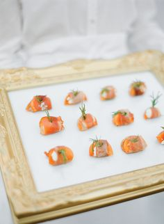 Delicious Wedding Food for Cocktail Hour - Salmon Appetizers | Photo: Lacie Hansen Photography | Appetizers: Root Catering |