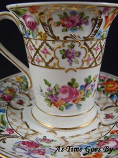 Hand Painted Dresden Flower Porcelain Chocolate Cup & Saucer - Thieme