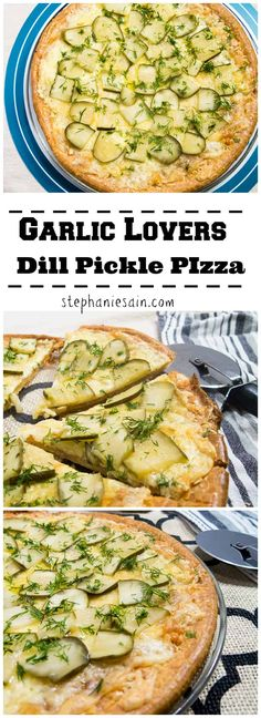 Garlic Lovers Dill Pickle Pizza is loaded with fresh garlic, dill pickles and cheese. All topped on a gluten free crust for the perfect easy tasty dinner. Vegetarian and Gluten Free. Garlic Lovers Dill Pickle Pizza Pat Espy pizza Garlic L Pizza Recipes, Soup Recipes, Vegetarian Recipes, Cooking Recipes, Vegetarian Pizza, Healthy Pizza, Recipies, Vegan Keto, Pickle Pizza Recipe