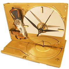 Metallic Gold Hard Drive Clock from Recycled Hard Drive, Unique Conversation Piece.