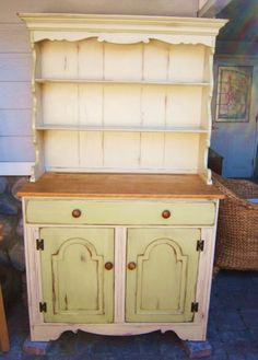 MAKANDJILL 21 COUNTRY HUTCH.JPG    Country hutch painted in CHALK PAINT® Old Ochre and Versaille.  www.MAKandJill.com Orange County, San Clemente, California