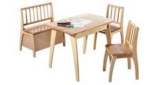 """Eine große Freude bereiten Sie Ihren Kleinen Lieblingenmit diesem erstklassigen Sitzgruppenset """"Bambino"""" - sie werden damit unzählige tolle Spielstunden verbringen und viel Spaß haben! Das hochwertige Set besteht aus Holz in Natur und setzt sich zusammen aus zwei Kinderstühlen, einer praktischen Truhenbank mit Deckelbremse und einem Tisch. Sitzhöhe Stuhl und Bank: 32 cm Truhenbank: Breite: 36 cm, Länge: 60 cm Tisch: Breite: 52 cm, Länge: 76 cm Sofas, Baby Kind, Drafting Desk, Furniture, Home Decor, Products, Kid Furniture, Glee, Armchair"""