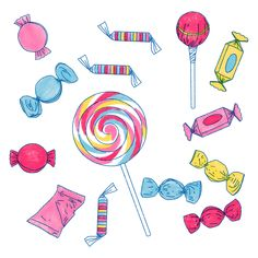 Buy 'Sweet Sweet Candy' by almostmythology as a Sticker or Art Print Candy Drawing, Food Drawing, Disney Drawings Sketches, Easy Drawings, Candy Clipart, Eid Stickers, New Project Ideas, Baby Boy Cards, Eid Cards