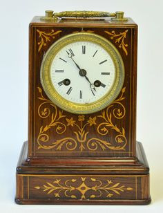 An Antique French Inlaid Rosewood Carriage Clock : Lot 206