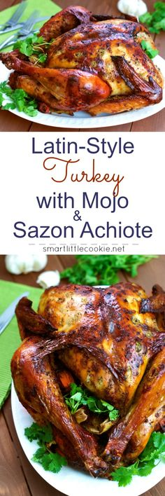 Latin-Style Turkey With Mojo and Sazón Achiote ~ Criollo-style turkey marinated with a homemade mojo and sazón achiote. The perfect turkey for your Thanksgiving dinner. (recipes with chicken drumsticks) Turkey Recipes, Mexican Food Recipes, Ethnic Recipes, Thanksgiving Turkey, Thanksgiving Recipes, Great Recipes, Dinner Recipes, Dinner Entrees, Christmas Drinks Alcohol
