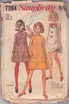 Simplicity 7284 Vintage 60's Sewing Pattern DARLING Mod Mini Tent Dress & Bloomers, #MOMSPatterns