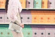 Chanel AW14 - Paris Fashion Week - specially created Chanel supermarket to showcase the a/w collection - right down to the Chanel crackers and risotto - pop-up fashion - palette