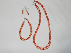 Red and Gold Braided Jewelry Set by MelissasUniqueDesign on Etsy, $10.00