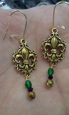 Mardi Gras Earrings $18  http://www.facebook.com/pages/Charmed/166361500118394?ref=tn_tnmn