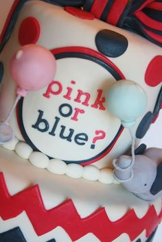 gender reveal cakes   And Everything Sweet: Navy and Pink Gender Reveal Cake