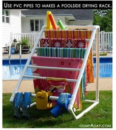 Terrific Creative DIY Towel Rack for your backyard pool! The post Creative DIY Towel Rack for your backyard pool!… appeared first on Feste Home Deco . Towel Rack Pool, Pool Towels, Towel Racks, Drying Racks, Swimming Towels, Diy Swimming Pool, Swimming Suits, Do It Yourself Furniture, My Pool