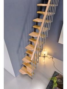The Gamia Mini Stair Kit with the Silver Grey Metalwork and light beech treads & handrail. A great addition for gaining access to your new loft room or mezzanine floor area.